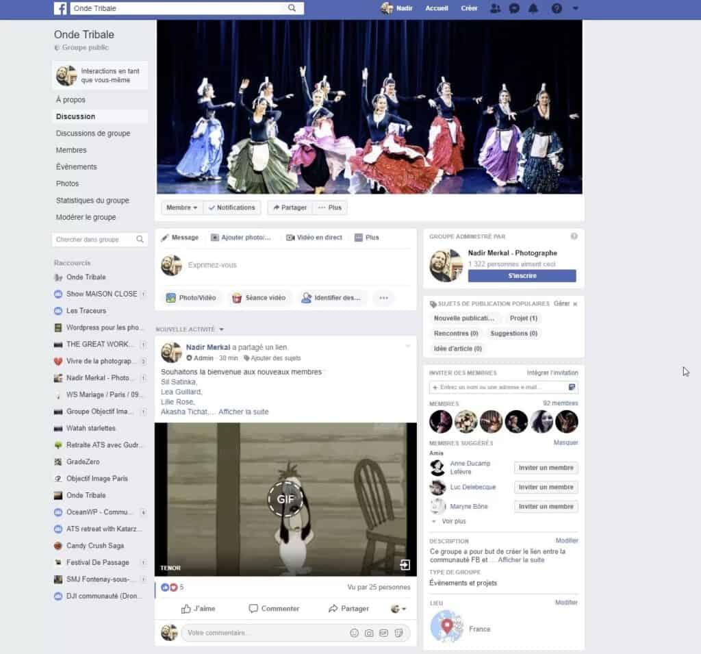 Une capture d'écran du groupe Facebook Onde Tribale