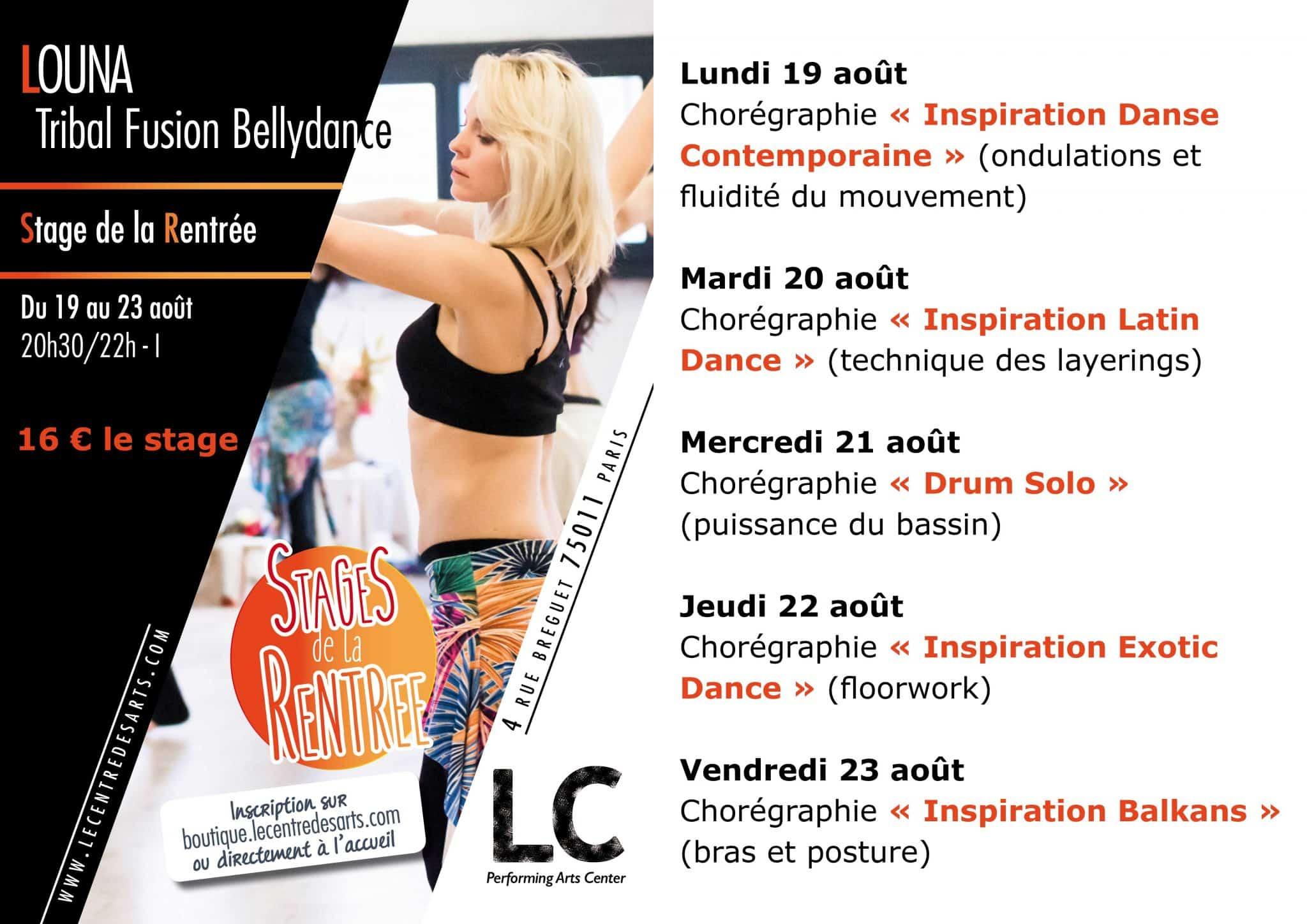 Affiche stages de la rentrée Louna